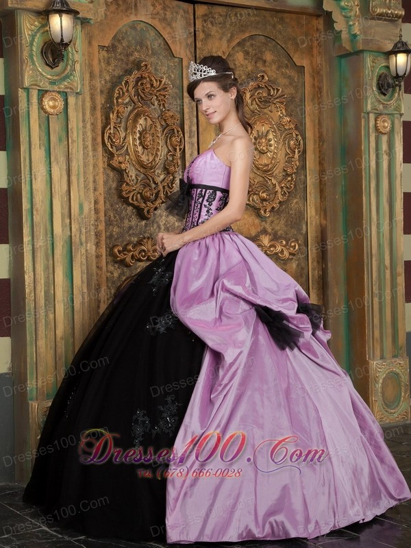 Quinceanera Dress Handmade Flower Lavender and Black Appliques