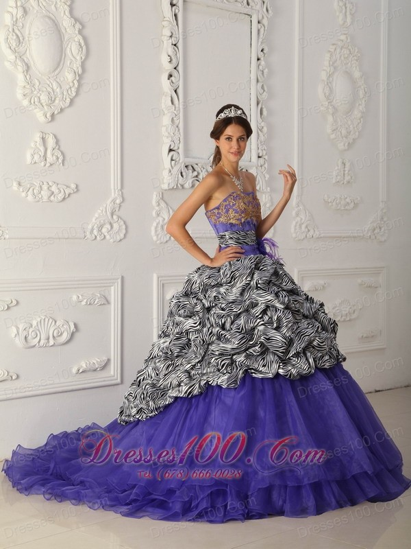 Purple and Zebra Print A-line Quinceanera Dress