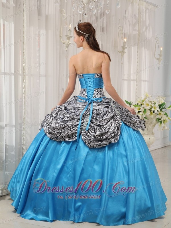 Blue and Zebra Print Ruch Sweetheart Quinceanera Dress