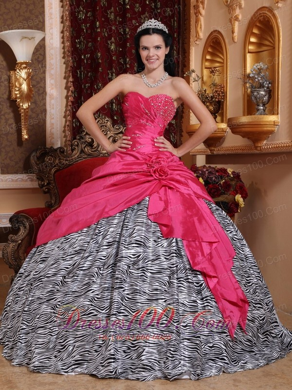 Hot Pink and Zebra Sweet 16 Dress Taffeta Quinceanera Dress
