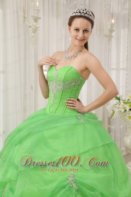 2012 Spring Green Quinceanera Dress Pick-ups Sweetheart