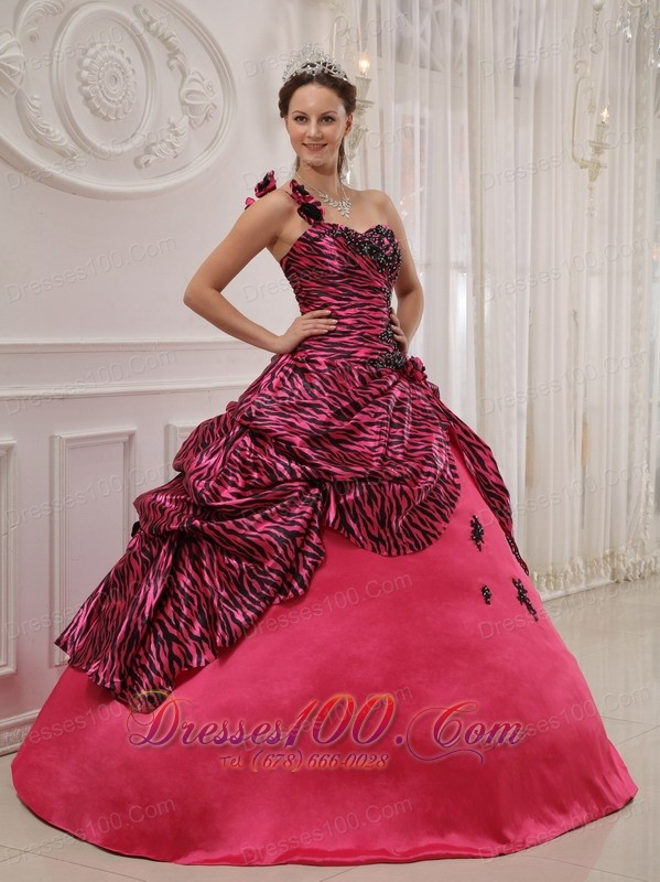 Hot Pink and Zebra Quinceanera Dress Ball Gown