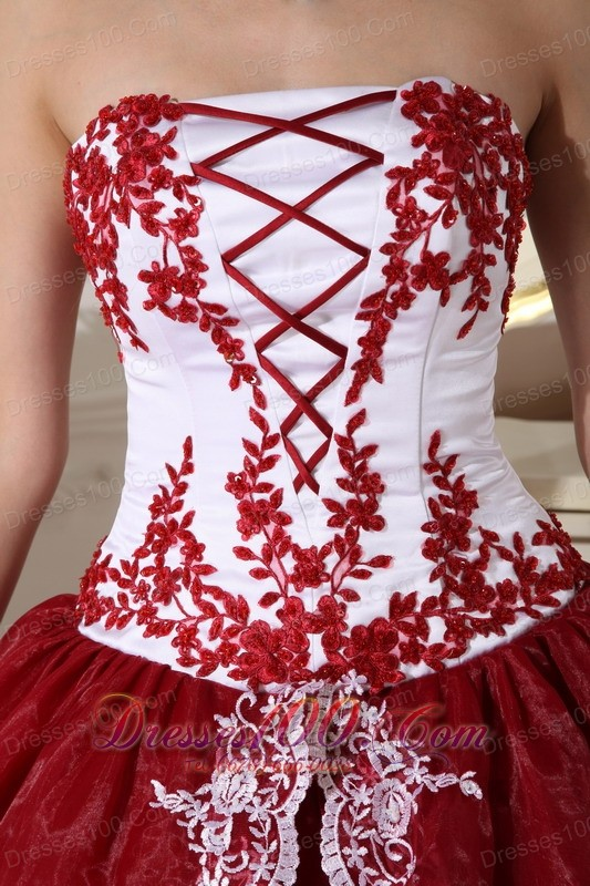Retro Dresses Embroidery Wine Red and White