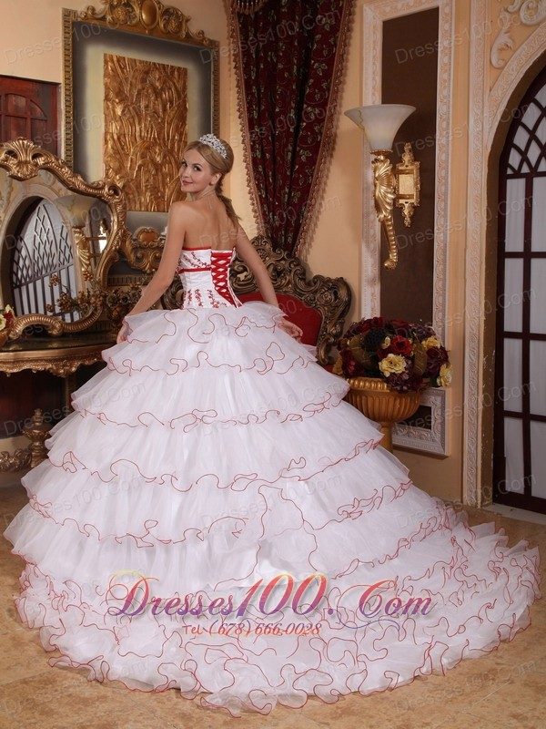 White and Red Layered Sweet 16 Dress Embroidery