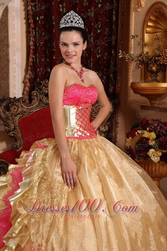 Hot Pink and Gold Retro Dresses Strapless