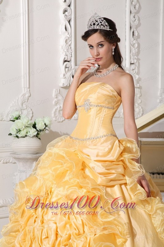 Yellow Quinceanera Dress Strapless Floral and Beading Sweep Train