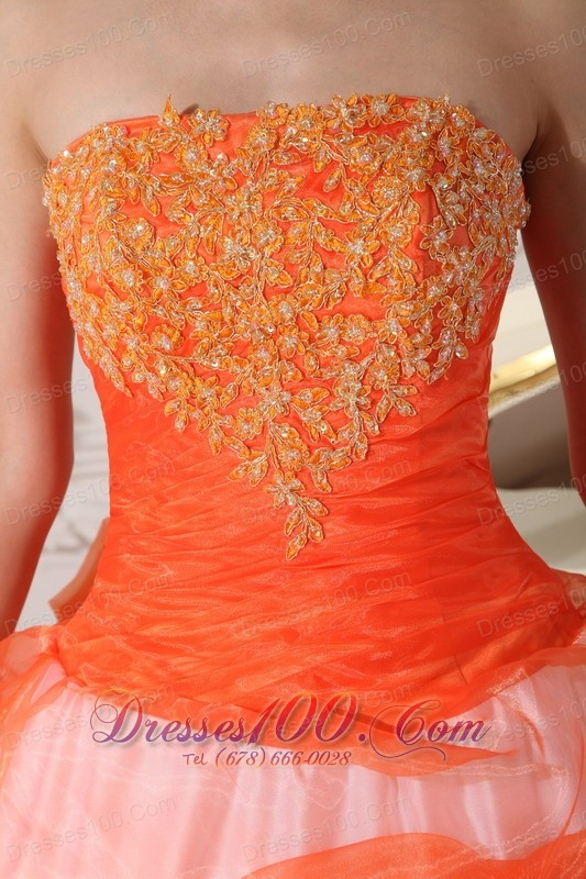 Organge and White Multi-tired Quinceanera Dress Strapless