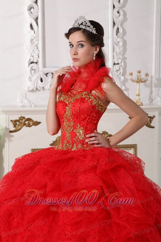 Halter Quinceanera Dress Red and Gold Taffeta Beading Appliques