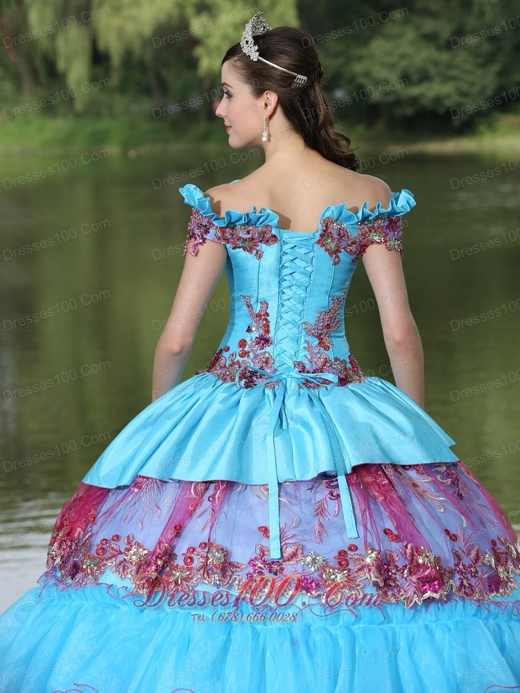 Unique Off the Shoulder Appliques Ball Gown Quinceanera Multi-color