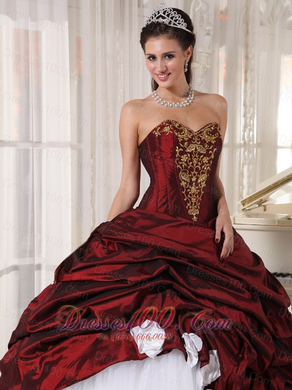 Sweetheart Wine Red and White Pick-ups Quinceanera Dress