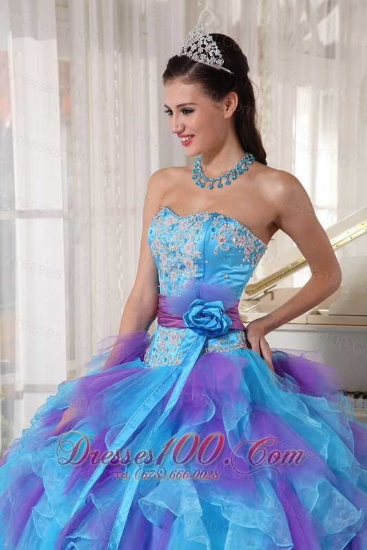 Strapless Baby Blue and Purple Quinceanera Dress Hand Made Flower