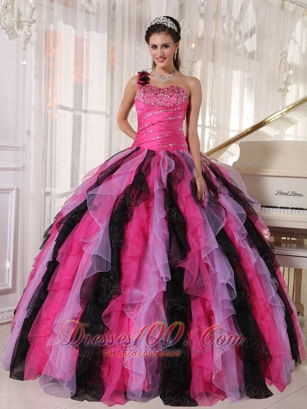 Multi-colored Strapless Ball Gown Quinceanera Dress