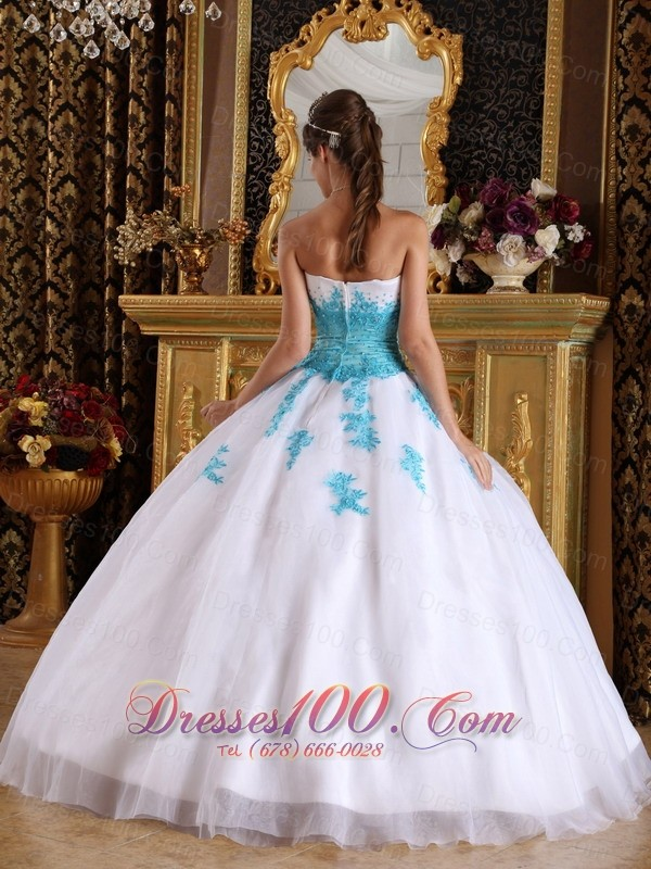 White and Blue Quinceanera Dress Appliques Ball Gown Puffy