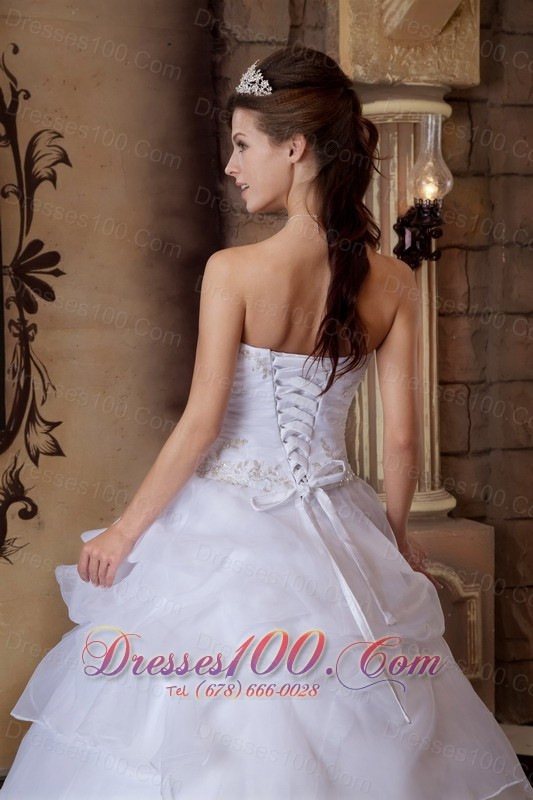 White Ball Gown Beading Quinceanera Dress Strapless Layer