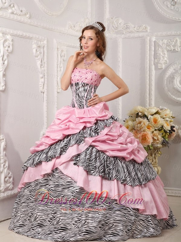 Pink and Zebra Sweet 16 Dress Ball Gown 2013 Multi-tierd