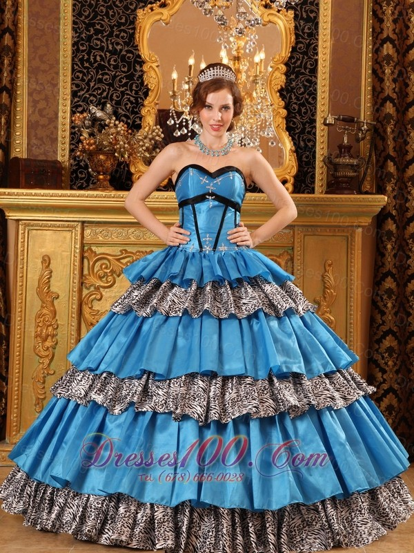 Multi-tierd Sweetheart Zebra and Blue Quinceanera Dress