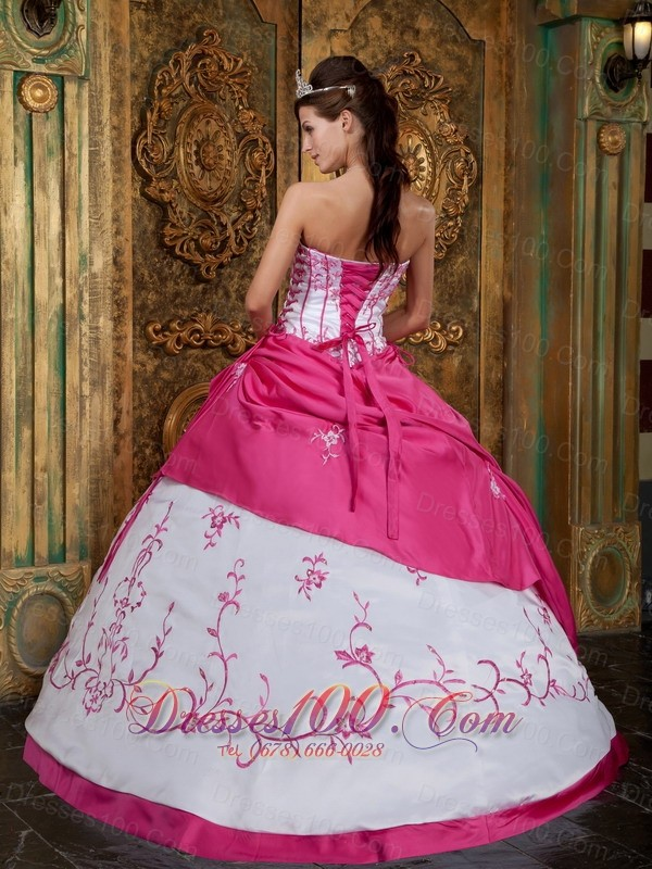Rose Pink and White Quinceanera Dress Ball Gown Lace up Back