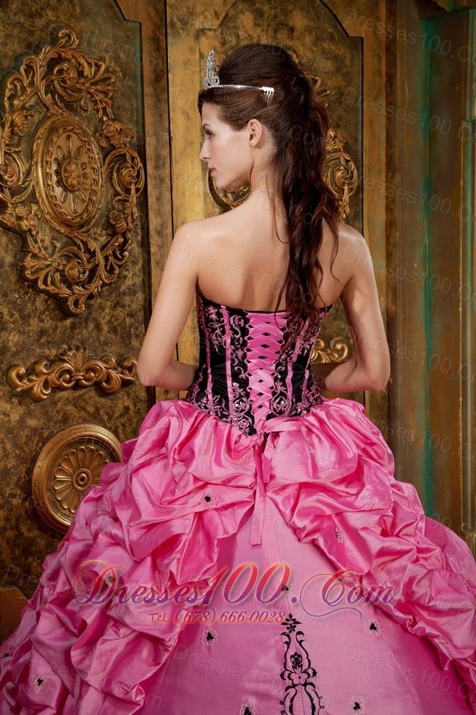 Rose Pink Quinceanera Ball Gown Boning Pick-ups Embroidery