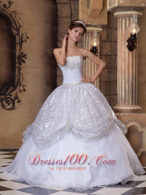 White and Silver Quinceanera Ball Gown Strapless for  New Style ...