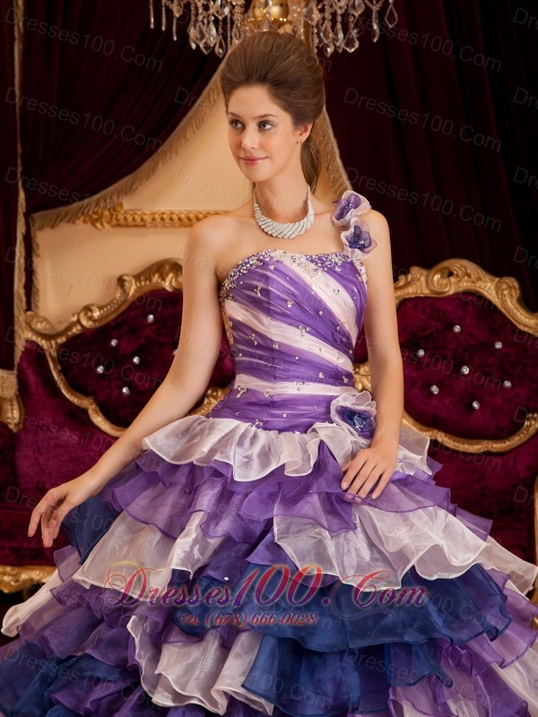 Colorful One Shoulder Layer Ball Gown Quinceanera Dress