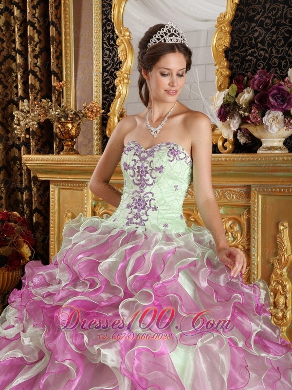 Spring Green and Fuchsia Strapless Quinceanera Dress