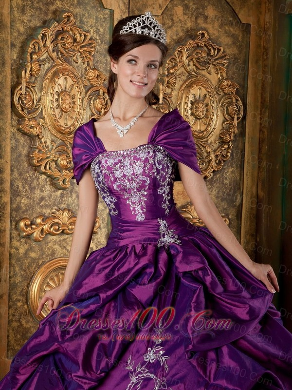 Purple Quinceanera Embroidery Pick-ups Ball Gown Dress