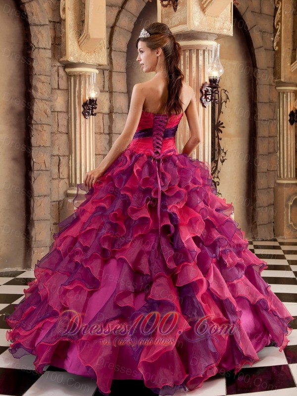 Strapless Ball Gown Layer Multi-color Floor-length Quinceanera Dress