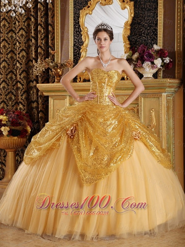 Gold Pick-ups Sequince and Tulle Sweetheart Quinceanera Dress