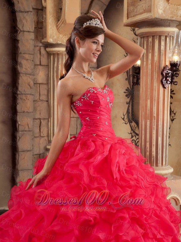 Quinceanera Dress Red Ball Gown Sweetheart Floor-length Organza