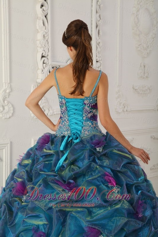 Teal Quinceanera Dress Straps Hand Made Flower A-line Pick-ups