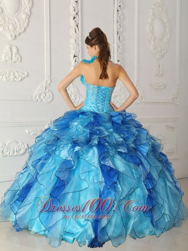 Multi-color Quinceanera Dress One Shoulder Hand Made Flower Ruffles