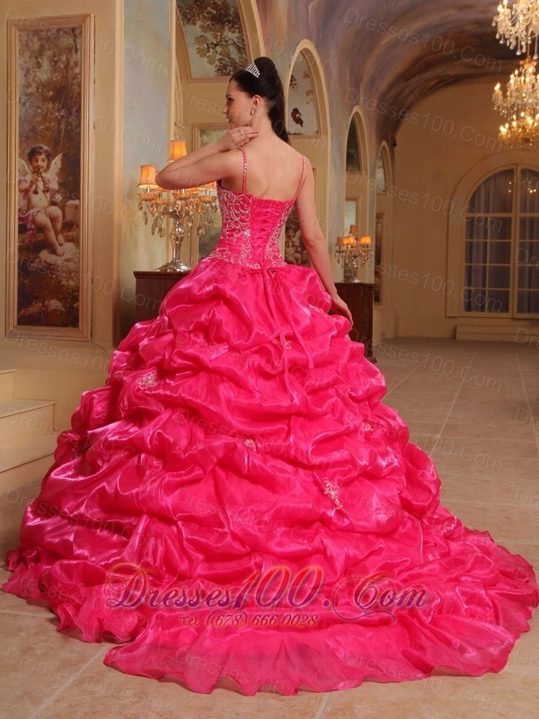 Hot Pink Quinceanera Dress Spaghetti Pick-ups Sweep Train