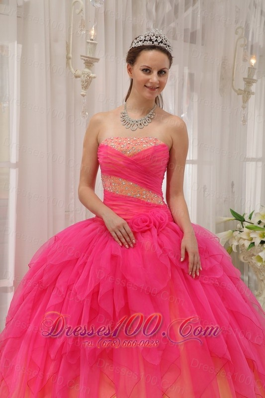 Strapless and Ball Gown Beading Quinceanera Dress Layer Hot Pink