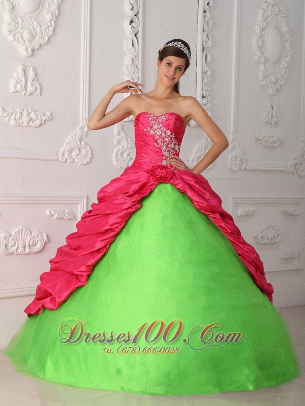 Hot Pink and Spring Green Sweet 16 Dress Discount