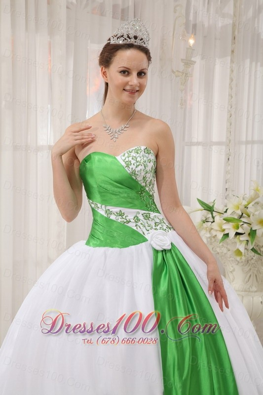 White and Spring Green Quinceanera Dress Strapless Ruffles