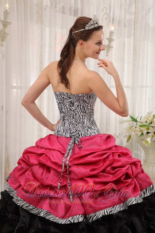 Strapless Zebra Red and Black Ball Gown for Sweet 15 Dress