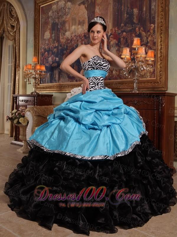 Aqua Blue and Black Quinceanera Dress Zebra Print Sash