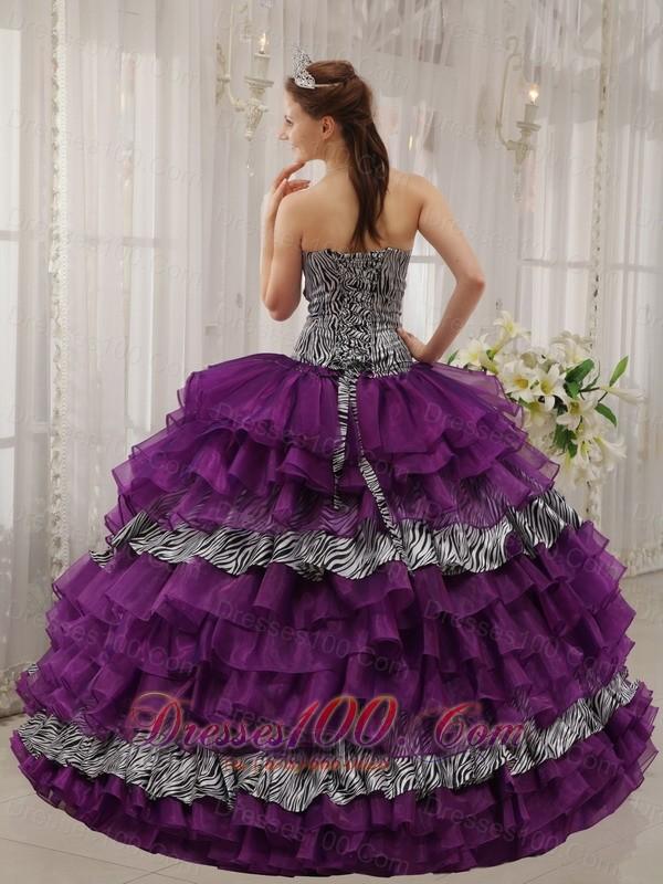 Eggplant Purple Quinceanera Dress Zebra Print Fabric