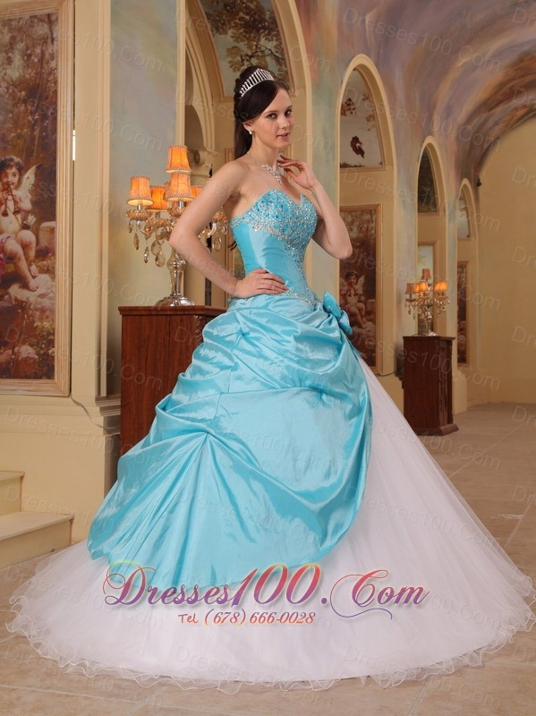 Aqua and White Sweet 16 Dress A-line for 2013