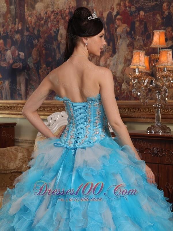 Aqua Quinceanera Gown Strapless Ruffles Hand Made Flower