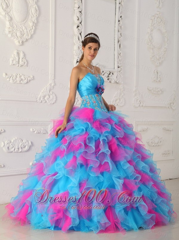 Sweetheart Aqua and Red Quinceanera Dress Hand Made Flower