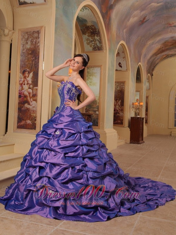 Purple Quinceanera Dress Strapless Sweep Train