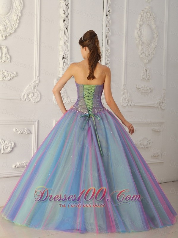 Colorful Sweetheart Beading A-line Sweet 15 Dress