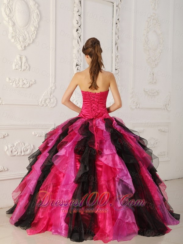 Strapless Multi-color Quinceanera Dress Ball Gown