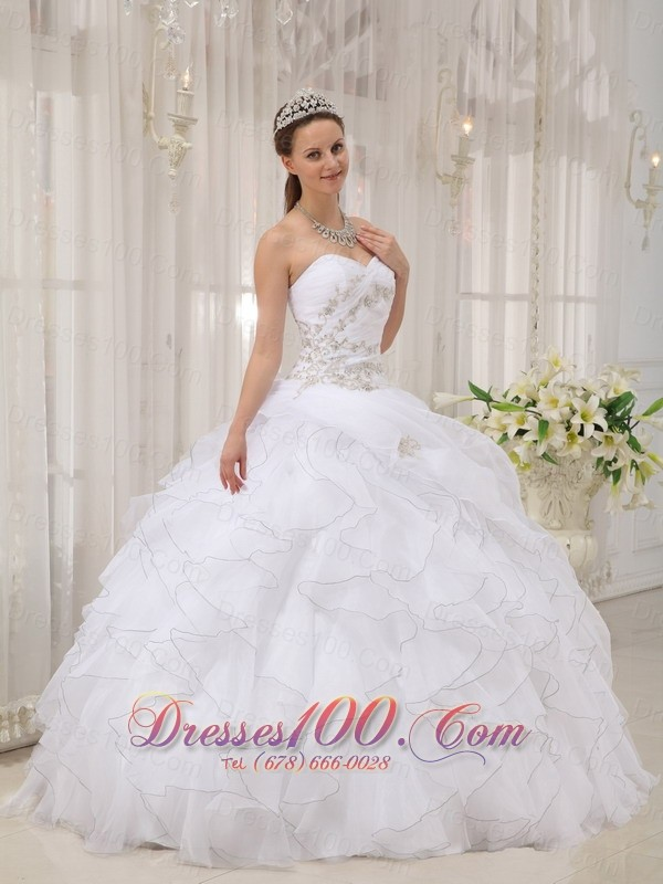 White Beading Ruffles Sweet 15 Dress For Quince |New Style ...
