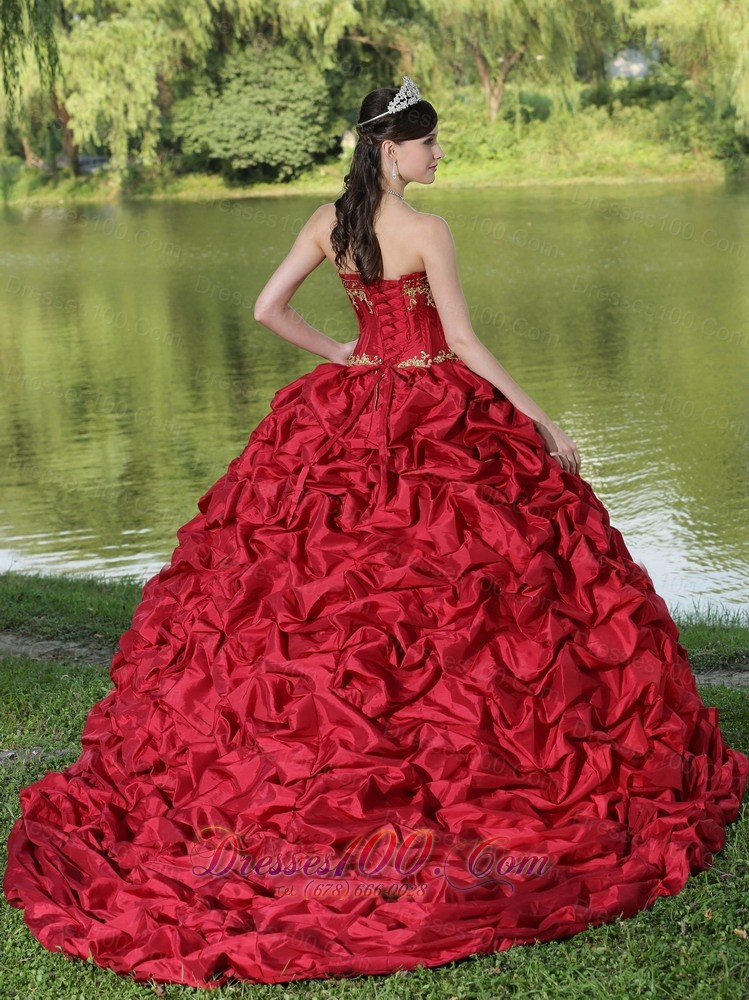 Wine Red Quinceanera Dress Yellow Embroidery with Train