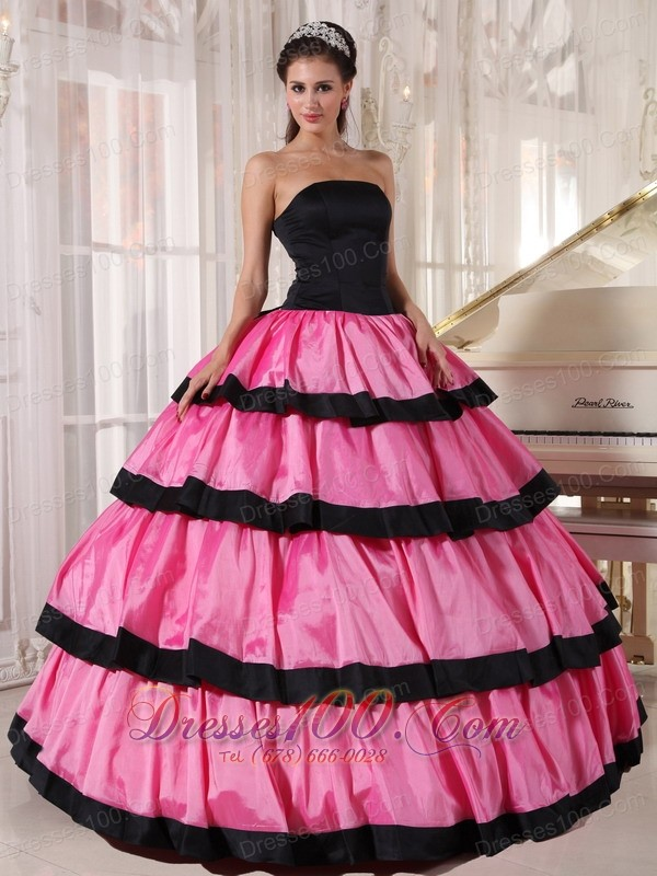Balck and Rose Pink Ball Gown Quinceanera Dress Layer
