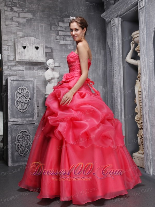 Sweetheart Coral Red Quinceanera Dress Pick-ups
