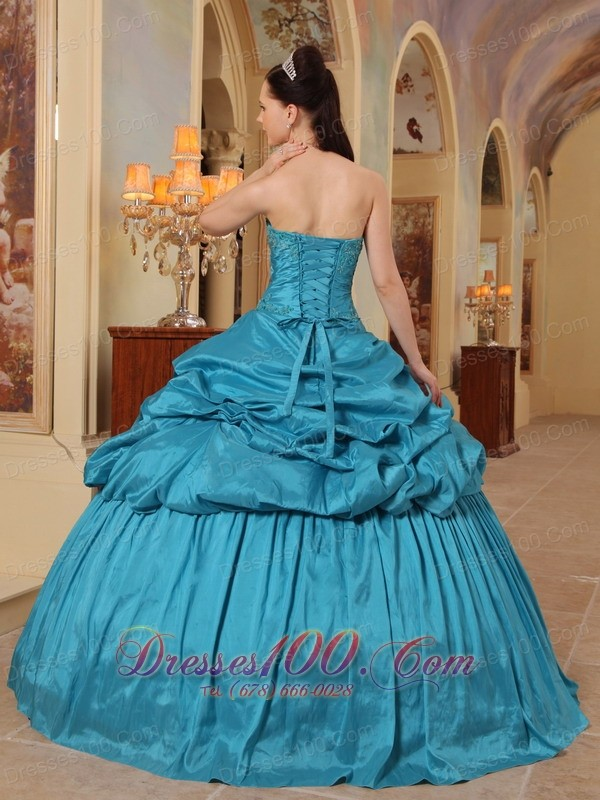 Discount Sweetheart Teal Pick-ups Quinceanera Dress
