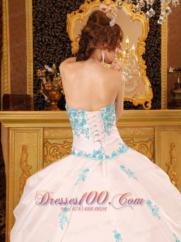 White Sky Blue Strapless Sweet 15 Dress Embroidery